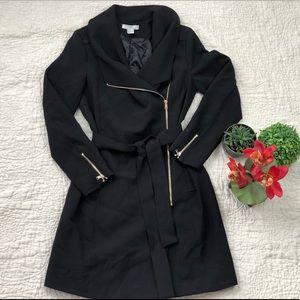 H&M black overcoat with sash